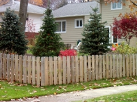 Wood Spaced Picket Fence Dog Eared