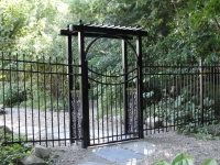 Arbor with Scalloped Gate and Picket Top Fence  EFS-10