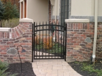 Ornamental Single Arched Gate with Quad Finials and Butterfly Scrolls EFS-10