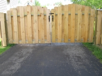 Wood Board on Board Double Arched Drive Gate