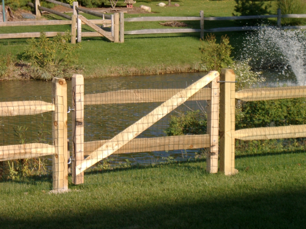 Split rail wood fence gate Picket Rail Gate With Mesh Rail Split Rail Henry Fence Gates More Henry Fence