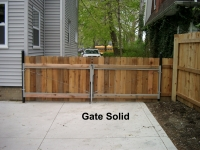 Wood Solid Double Drive Gate with Pipe Frame
